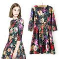 2014 meilleures ventes femme printemps eté mode moitié manches robe Style européen fleur copie Vintage robe 6798