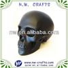 Human polyresin matte black skull art and crafts