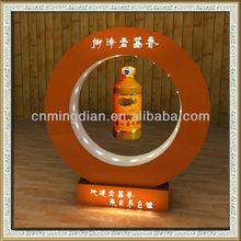LED magnetic levitating wine bottle display,Magnetic floating wine bottle display