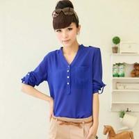 NG5004 stylish bright color blouses sexy v collar chiffon women blouses
