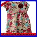 Infantil de flores de raso con diseño de flores de color rojo bebé vestido( kd- 005)