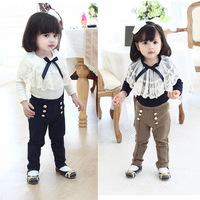 C80092A 2014 girls' suits lace collar long-sleeved T-shirt + pencil pants children suit