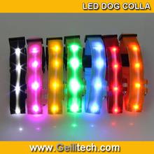 LED nylon led dog collar Personalized Dog Nylon Flashing Glow New Pet Light Safety Collar night sport safety collar 8 Colors