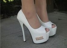 White ladies extreme platform heel shoes 2014 new designer women 15cm high heel shoes women sexy peep toe shoes cheap wholesale