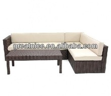 Outdoor Wicker Furniture Conversation Sectional Set - Beige Cushions