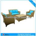 de alta calidad de juego de jardín sofá de mimbre con respaldo funcional cf723