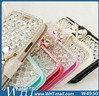 For iPhone Bow knot Design Ice Silk Skin Leather Case, Diamond Leather Rhinestone Bling Case For iPhone 5 Company