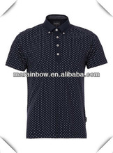 high quality custom made mens 100% cotton high neck polo shirts with dots