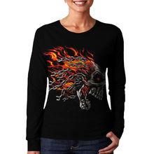 Wellcoda   Burning Skull Dragon Chain Face Ladies Women Long Sleeve T-Shirt NEW Tee 100% Cotton Top S-XL Size