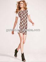 2014 New Style Colorful Summer Dress/Sexy Short Sleeve Printed Casual Dress/Elegant Dress Designs 2014 Girl's Fashion Mini Dress