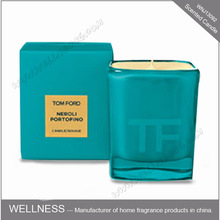custom square glass branded scented soy candle