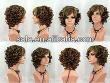 Wholesale Brown Wigs Cheap Synthetic Japan Kanekalon Fiber Short Wavy Wigs yiwu
