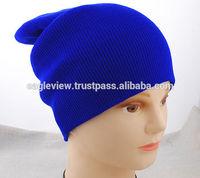 BlueRed Unisex Men Women Solid Color Warm Cuff Plain Acrylic Knit Ski Beanie Skull Hat