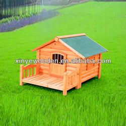 Luxury wood dog kennel with balcony