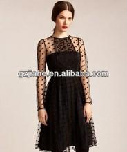 2014 new Elegant sense of perspective high waist lace dress