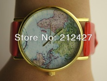 freeshipping freeshipping popular hot sale pu leather band worldwide map watches,precise quartz movement,assorted color
