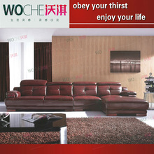 Profound royal lofty sofa red bright leather sofa fashionable living room furniture(WQ6862)