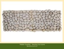 Home round white river pebble mat tile