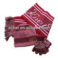 2014 sottile jacquard a righe inverno a maglia sciarpa cappello e guanti set