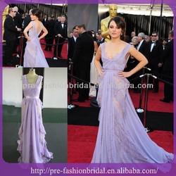 Real Sample v neck A-Line purple open back oscar red carpet evening dress 2014