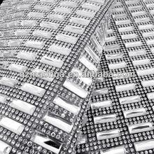 Factory diretly! 5*15 crystal rhinestone mesh trimming for wedding dress decoration