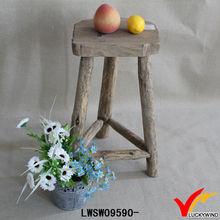 rustic chic 3 legs irregular top high wood stool