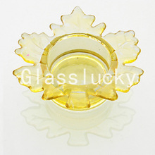2014 Hot Sale CH14009-3 Maple Leaf Shaped Wholesale Bulk Tealight Glass Votive Candle Holders in Cheap