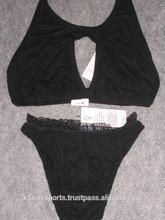 Black Strechable Bra & panty set lingeries womens indian bra & panty for girls