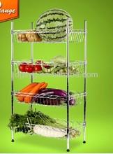 Kitchen room vegetable storage wire basket trolley