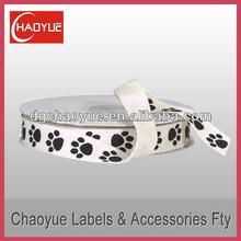 Custom twill tape ribbon printed logo with dog paw