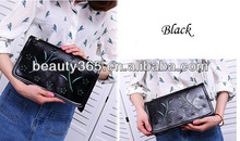 fashion Women leather wallet Day Clutch Flower Hollow Out Bag Retro Painting