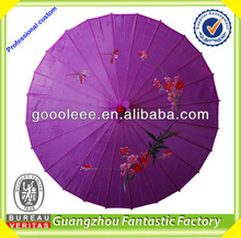 pictures printing paper umbrella/ purple Chinese paper umbrella