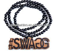 custom good hip hop wood beads necklace