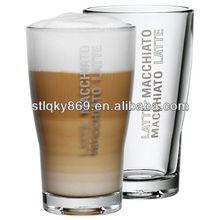 lyT355 Wholesale Glass Coffee Cup Barista Latte Macchiato Glasses Latte Glass Cup 400ml Custom Logo Printed Latte Glass