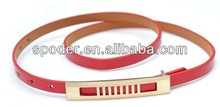 2014 New classic Womens retro rose red golden Buckle Belt Thin plain obi fx leather belt