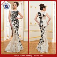 E0773 Black And White Lace Mermaid Eevening Dress Short Sleeve Dresses Evening Pattern