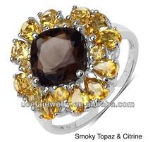 925 Sterling Silver Multi-gemstone Smoky Topaz mens designer big size finger Ring jewelry stones