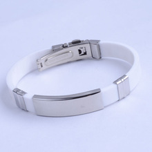 Personalized elastic Silicone Custom stainless steel Bracelet