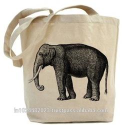 Two-tone organic canvas tote bag plain