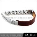 personalizzati ingrosso in acciaio inox semplici marrone genuino cinturino in pelle con catena per gli uomini