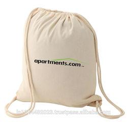 White cotton drawstring canvas backpack Cheap Cotton Drawstring Bags