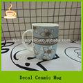 13oz tambor em forma de flores bonitas café decalque cerâmico caneca, a impressão do decalque caneca de esmalte