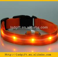 Fashion adjustable nylon led dog collar with custom print logo