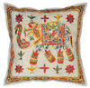 Handmade Embroidery Cushion Cover, Elephant Design Indian Cushion Cover