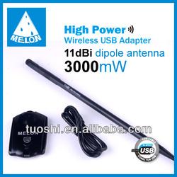wifi network adapter,Model N3000,Ralink3070 chipset,802.11b/g/n standards,3000mW high power,11dBi antenna