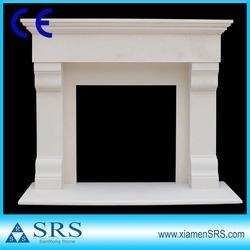 Natural white limestone fireplace