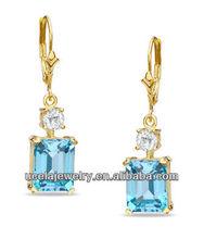 Blue and White Topaz Drop Earrings crystal long drop nose earrings