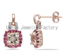 Sterling Silver Pink Tourmaline and Diamond Earrings fox racing earrings cheap fashion jewelry