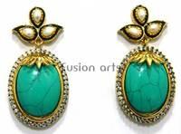 American Diamond C Z Turquoise Hanging Dangler Earring
