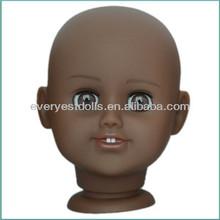 pleastic big eye girl doll head ,open and closed eye doll head